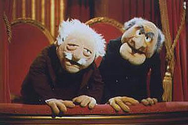 The faces of the gop statler and waldorf in the balcony for Balcony muppets
